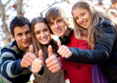 Group of teenage friends showing thumbs-up